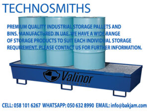 GALVANIZED STACKABLE STEEL PALLET CONVERTERS FOR COLD STORES IN RIYADH-4 drum pallet for spill containment by valinor dubai