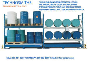 STEEL PALLETS BINS STILLAGES-drum-rack-with-spill-containment-sump-8-drum-159-gal-sump-capacity-steel-construction RHINO DUBAI